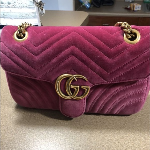 00db754fa4a Gucci Handbags - Authentic Gucci Marmont pink velvet Crossbody